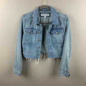 Express Jeans Frayed Hem Crop Jean Jacket